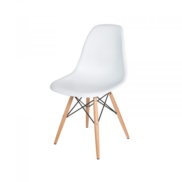 EIFFEL CAIRO WHITE CHAIR WITH WOOD BASE