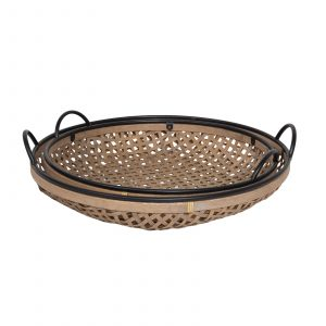 Eden Bamboo And Metal Tray Set
