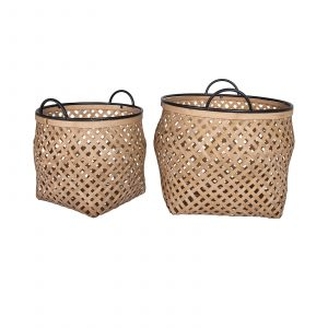 Eden Bamboo And Metal Basket Set