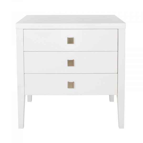 HARA ACCENT TABLE - 3 DRAWER DRESSER - WHITE FRONT